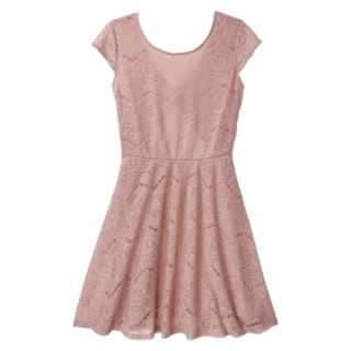 Xhilaration Juniors Open Back Lace Dress   Pale Mauve XXL(19)