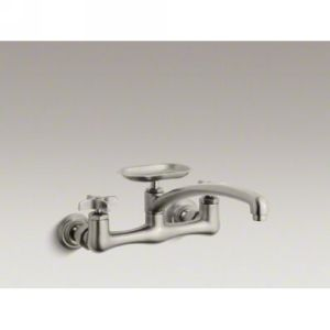 Kohler K 7856 3 BN Clearwater Two Handle Wall Mounted Kitchen Faucet with Soap D