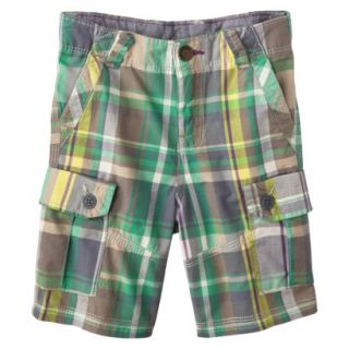 Genuine Kids from OshKosh Infant Toddler Boys Plaid Cargo Short   Green 18 M