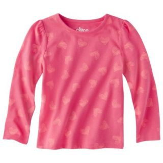 Circo Infant Toddler Girls Long sleeve Print Tee   Coral 4T