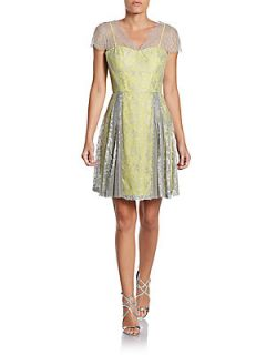 Metallic Lace Cap Sleeve Cocktail Dress   Silver