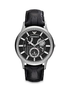 Emporio Armani Round Stainless Steel Watch   Stainless Steel Black
