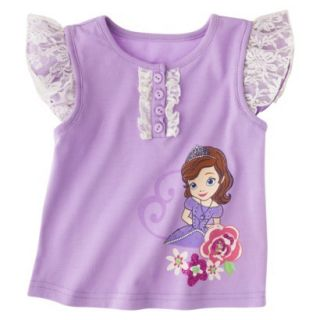 Disney Sofia the First Toddler Girls Lace Cap Sleeve Tee   Lilac 4T