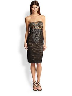 Sue Wong Strapless Ruched & Beaded Dress   Black Gold