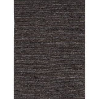 Hand woven Naturals Solid Pattern Gray/ Black Rug (8 X 10)