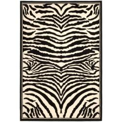 Lyndhurst Collection Zebra Black/ White Rug (8 X 11)