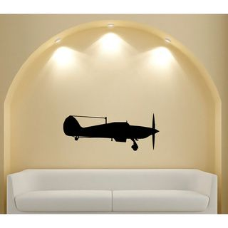 Vintage Aircraft Silhouette Vinyl Sticker Wall Decal (Glossy blackTheme Vintage aircraft Materials VinylIncludes One (1) wall decalEasy to apply; comes with instructions Sheet dimensions 25 inches wide x 35 inches longAll measurements are approximate.