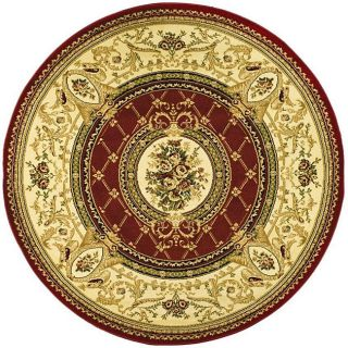 Lyndhurst Collection Traditional Red/ Ivory Rug (53 Round)