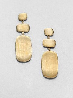 Marco Bicego 18K Yellow Gold Engraved Nugget Drop Earrings   Gold