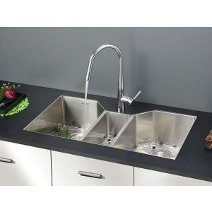 Ruvati RVC2572 Combo Stainless Steel Kitchen Sink and Chrome Faucet Set