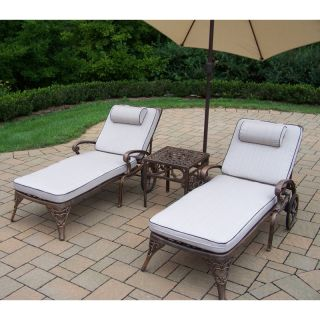 Oakland Living Mississippi Cast Aluminum Chaise Lounge Set with Tilting
