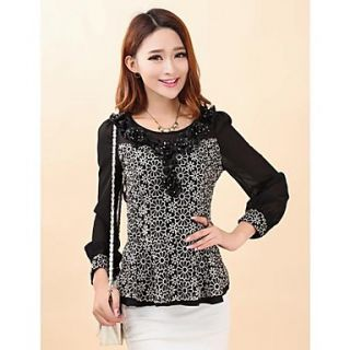 Womens Floral Lace Bodycon Splicing Blouse