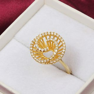 High Quality Fashion Gold Plated Clear Rhinestone Spiral Womens Ring