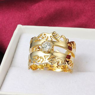 High Quality Fantastic Gold Plated Clear Rhinestone Spindrift Womens Ring