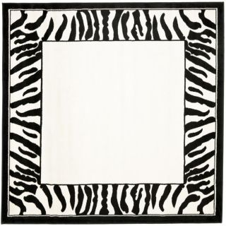 Lyndhurst Collection Zebra Border Black/ White Rug (6 Square)