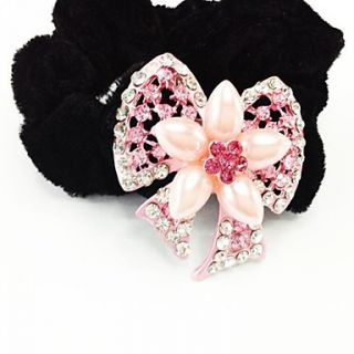 Fashion Bling Shinning Diamond Pink Flower Bow knot for Women Hairpin Headband Jewelry Accessories