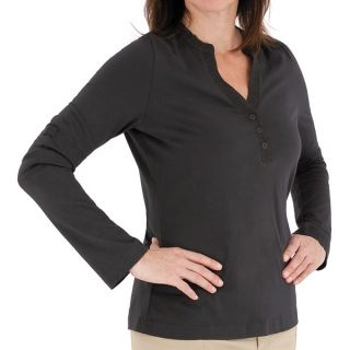Royal Robbins Lucy Henley Shirt   Organic Cotton  Long Sleeve (For Women)   CHARCOAL (M )