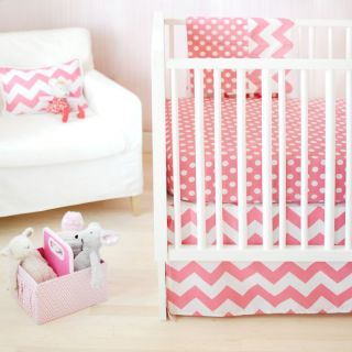 New Arrivals Zig Zag Baby Crib Bedding Set   Hot Pink   CRIB2 ZZB HOT PINK