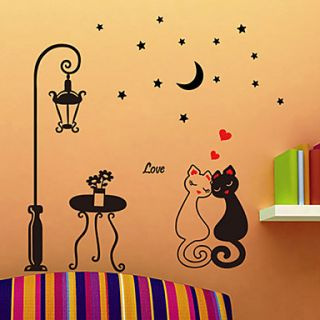 Cartoon Love Cats Removable Decorative Wall Stickers