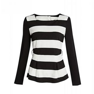 Womens Round Collar Thick Stripes T Shirt(without accessories,Rhinestone,Handmade flowers,bow knot,Sequins etc.)