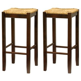 Winsome Wood 29 Inch Rush Seat Bar Stool   Walnut   Set of 2 Brown   94770