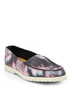 Maison Martin Margiela Floral Print Leather Loafers   Dark Grey