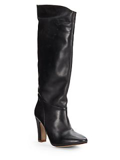 Anka Leather Knee High Boots   Black