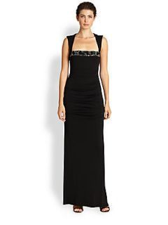 Nicole Miller Sleeveless Open Back Gown   Black