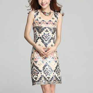 Womens Embroidery Slim Sleeveless Dress