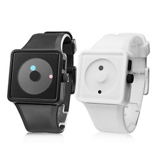 Couples Creative Two Dot Dial Silicone Band Quartz Wrist Watches (1 Pair, Black White)