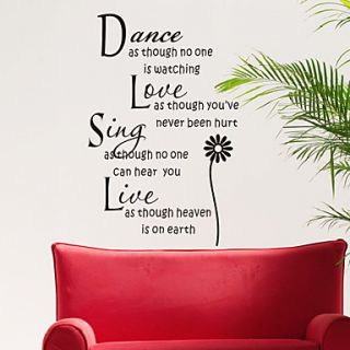 Words Dance Love Sing and Live Wall Stickers