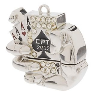 Sparkling Hand hold Poker Metal USB Flash Drive 16GB