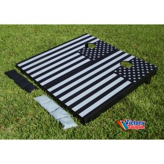 Victory Tailgate Black and Gray American Flag Tournament Cornhole Set   7696