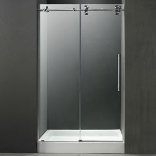 Vigo Industries VG6041STCL60WM Shower Door, 60 Frameless 3/8 w/White Base Center Drain Clear/Stainless Steel