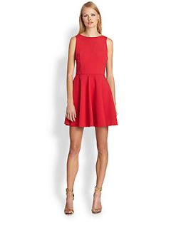 Nicole Miller Satin Crepe Fit and Flare Dress   Cherry