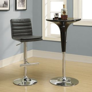 Monarch Charcoal Grey Ribbed Faux Leather & Chrome Hydraulic Lift Bar Stool