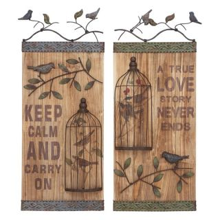 Benzara Inc Bird Cage Wall Decor   Set of 2 Wood Panels Multicolor   54428