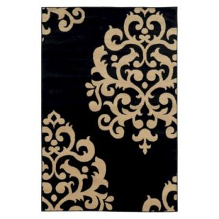 Damask Area Rug   Black (5x76)