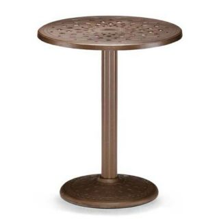 Telescope Casual 30 in. Round Cast Top Patio Counter Height Table with Umbrella
