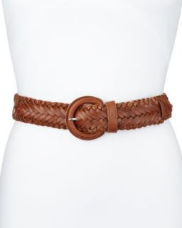 Braided Leather Belt, Brown, Womens