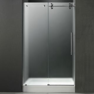 Vigo Industries VG6041STMT48RWM Shower Door, 48 Frameless 3/8 Right w/White Base Center Drain Frosted/Stainless Steel