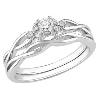 10K White Gold Diamond Bridal Set Silver 9.0