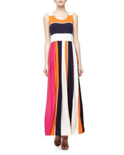 Colorblock Striped Jersey Maxi Dress, Navy/Orange/Cream/Pink