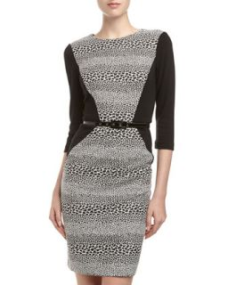 Solid Side Leopard Print Sheath Dress, Black/White