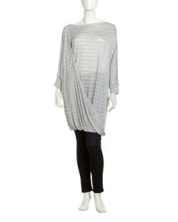 Wrap Front Long Tunic, Heather Gray