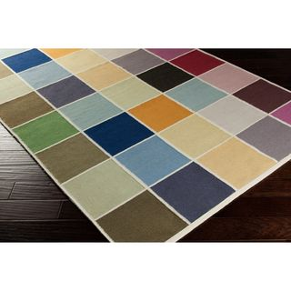 Hand woven Cajan Flat Weave Checkerboard Multi Wool Rug (5 X 8)