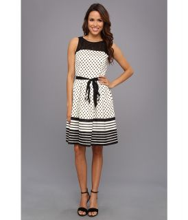 Jessica Howard Illusion Neck Dress With Pleated Skirt And Sash Belt Womens Dress (Multi)