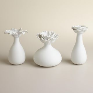 White Bloom Bud Vases, Set of 3   World Market