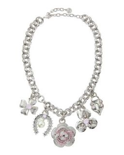 Crystal Charm Necklace, Pink