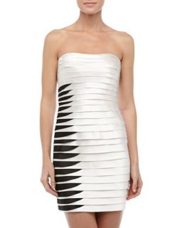 Strapless Two Tone Layered Cocktail Dress, White/Black